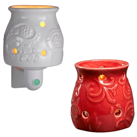 Wax Free Warmer Set—2 Extra Fragrance Disks included - Warmer and Nightlight - Red and White