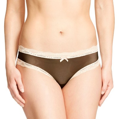 Women's Mesh Lace Trim Hipster Panty Black/Beige M - Gilligan & O'Malley™