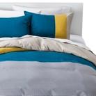 Room Essentials® Stripe Colorblock Duvet Cover Set - Teal