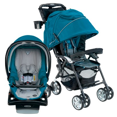 Combi Cabria Stroller and Shuttle Infant Car Seat Bundle - Teal