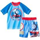 Thomas the Tank Engine Toddler Boys' Short-Sleeve Rashguard and Swim Trunk Set
