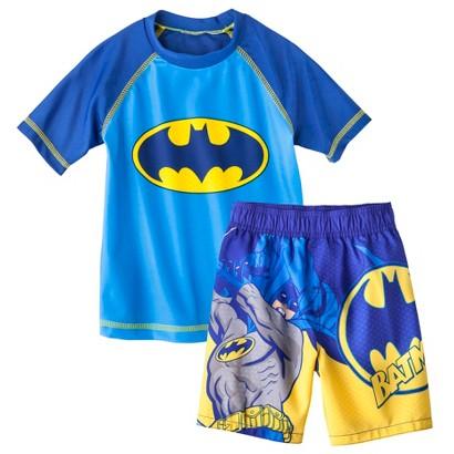 Batman Toddler Boys' Short-Sleeve Rashguard and Swim Trunk Set