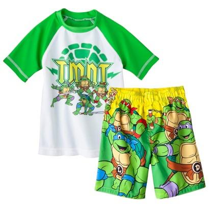 Teenage Mutant Ninja Turtles Toddler Boys' Short-Sleeve Rashguard and Swim Trunk Set