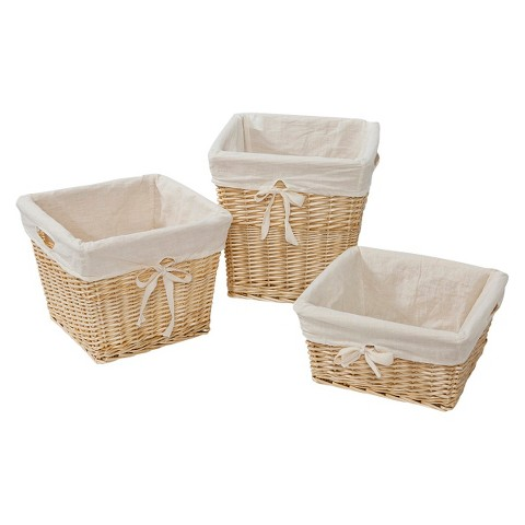Burt's Bees Baby Decorative Baskets with Cotton Liner Set of 3