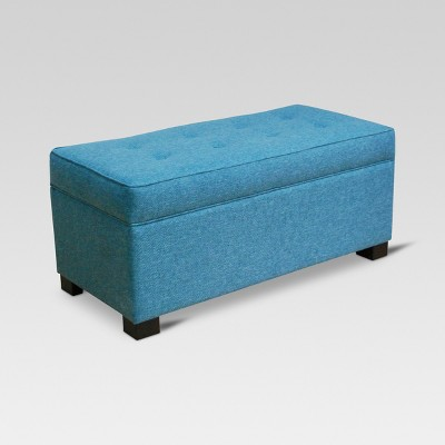Shelton Tufted Top Storage Ottoman - Teal - Threshold™