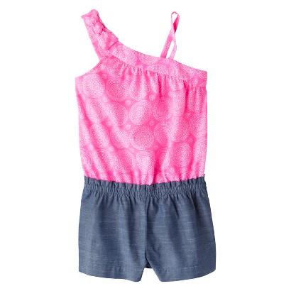 Cherokee® Infant Toddler Girls' Sleeveless Swirl and Chambray Romper