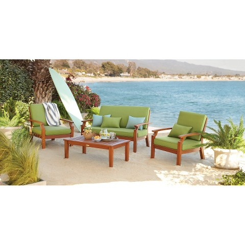 Smith & Hawken® Brooks Island 4-Piece Wood Patio Conversation Furniture Set