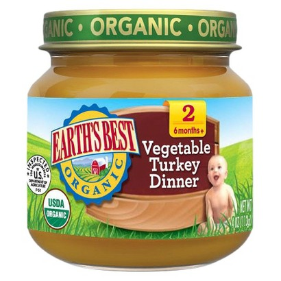 Earth's Best Organic Vegetable Turkey Dinner Baby Food, 4 oz. (12 Count)
