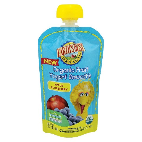 Earth's Best Organic Fruit Yogurt Smoothie - Apple Blueberry 4.2oz (12 Pack)