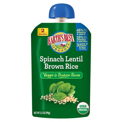 Earth's Best Veggie and Protein Puree - Spinach Lentil Brown Rice 3.5oz (12 Pack)