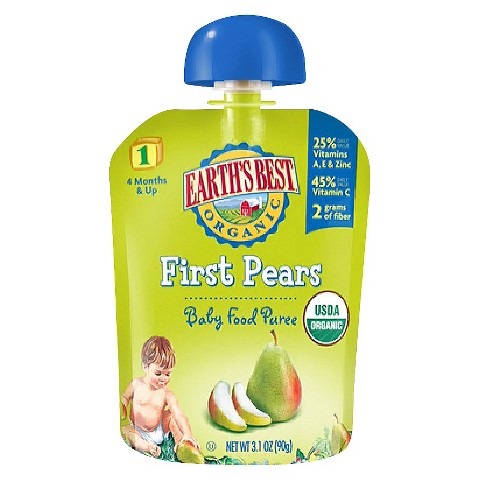 Earth's Best Baby Food Pouch - First Pears 3.1oz (12 Pack)