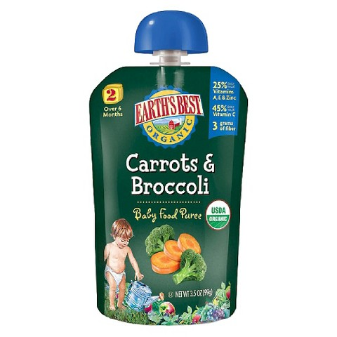Earth's Best Baby Food Pouch - Carrots & Broccoli 3.5oz (12 Pack)