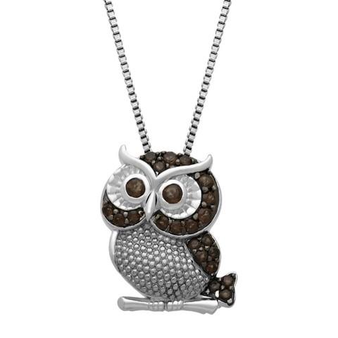 "Sterling Silver Smokey Quartz Owl Pendant - 18"""