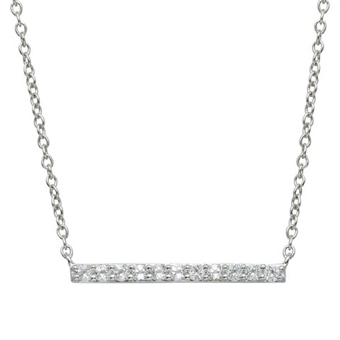 """Sterling Silver White Topaz Bar Necklace - 17"""""""