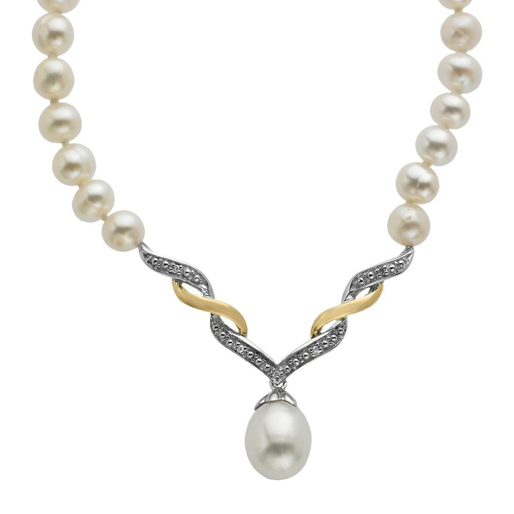Sterling Silver and 14K Yellow Gold Freshwater Pearl with Diamond Accent Necklace - 18, Women's