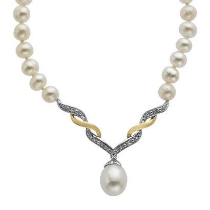 """Sterling Silver and 14K Yellow Gold Freshwater Pearl with Diamond Accent Necklace - 18"""""""