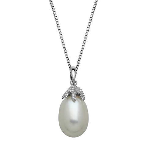Sterling Silver Freshwater Pearl with Diamond Accent Pendant - 18""