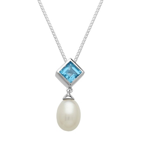 """Sterling Silver Freshwater Pearl with Blue Topaz Square Accent Pendant - 18"""""""