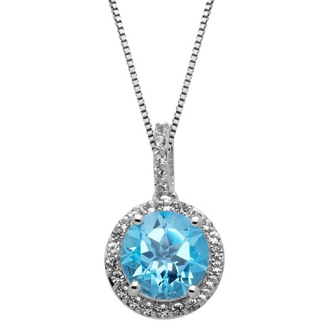 Sterling Silver Blue Topaz Halo Framed with White Topaz Pendant - 18""
