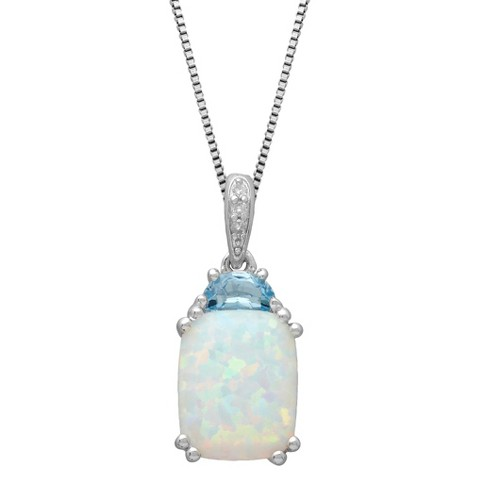 Sterling Silver Created Opal and Blue Topaz Special Cut Stone with Diamond Accent Pendant - 18""