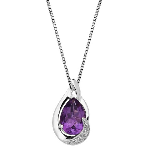 Sterling Silver Amethyst with Diamond Accent Pendant - 18""