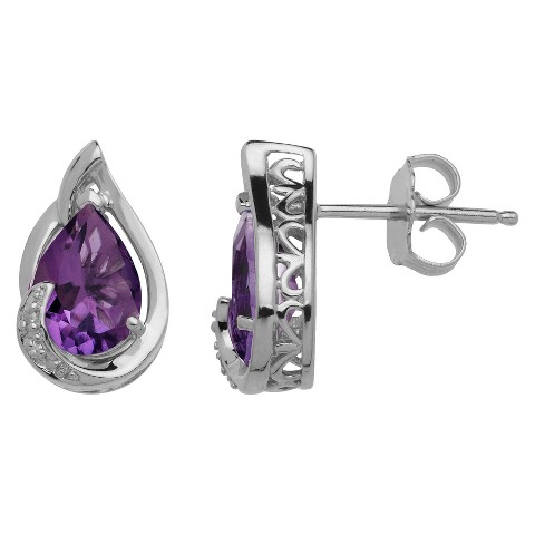 Sterling Silver Amethyst with Diamond Accent Stud Earrings