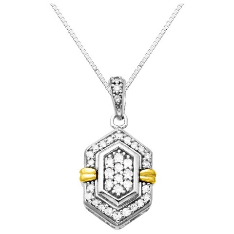 """Sterling Silver and 14K Yellow Gold Hexagon Diamond Accented Pendant - 18"""""""