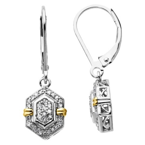 Sterling Silver and 14K Yellow Gold Hexagon Diamond Accented Drop Earrings