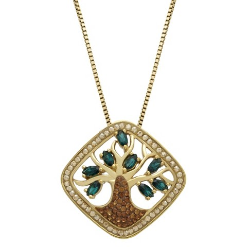 """Yellow Gold Plated Sterling Silver Family Tree with Crystals from Swarovski Pendant - 18"""""""