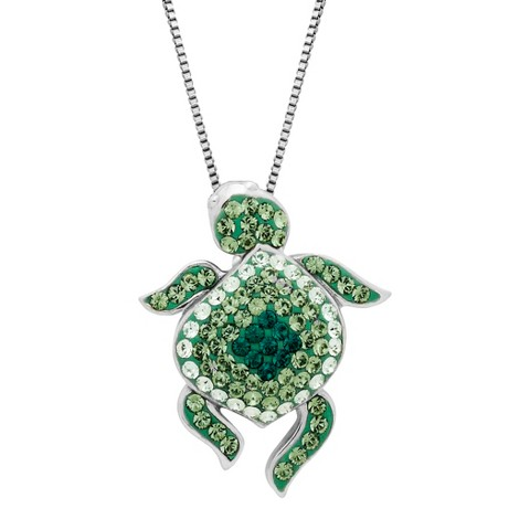 Sterling Silver Green Turtle with Swarovski Elements Pendant - 18""