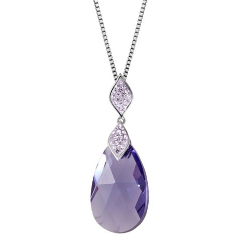 Sterling Silver Purple Briolette with Crystals from Swarovski Pendant - 18""