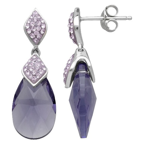 Sterling Silver Purple Briolette with Crystals from Swarovski Drop