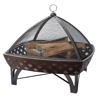 UniFlame Oil Rubbed Bronze Outdoor Firebowl with Lattice Design