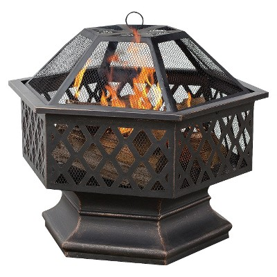 UniFlame 6-Sided Oil Rubbed Bronze Outdoor Firebowl with Lattice Design