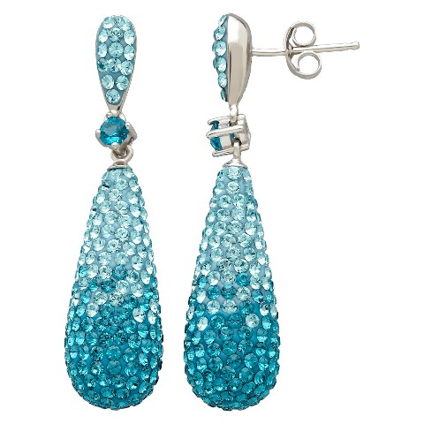 Sterling Silver Faded Blue Tear Drop with Crystals from Swarovski Earrings