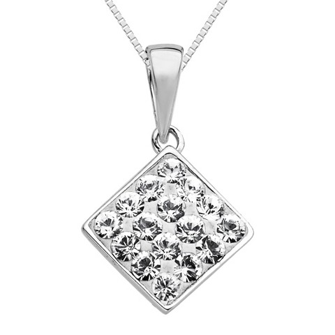 """Sterling Silver White Pave Square with Swarovski Elements Drop Pendant - 18"""""""
