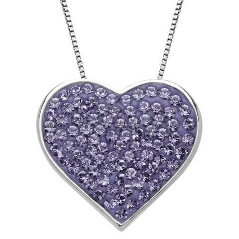 Sterling Silver Purple Pave Heart with Swarovski Elements Pendant - 18""