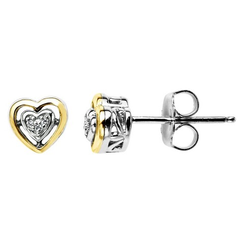 Sterling Silver and 14K Yellow Gold Diamond Accented Stud Earrings