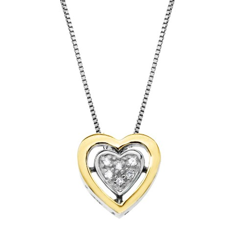 Sterling Silver and 14K Yellow Gold Double Frame Diamond Heart Pendant - 18""