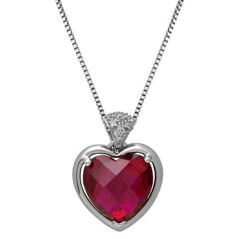 Sterling Silver Created Ruby Heart with Diamond Accent Pendant - 18""