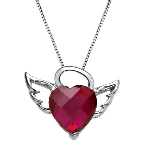 Sterling Silver Winged Halo Created Ruby Heart Pendant - 18""