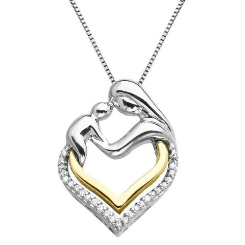 Sterling Silver and 14K Yellow Gold Mother and Baby Heart with Diamond Accent Pendant - 18""