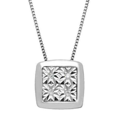 "Sterling Silver High Polish Square Diamond Accented Pendant - 18"""