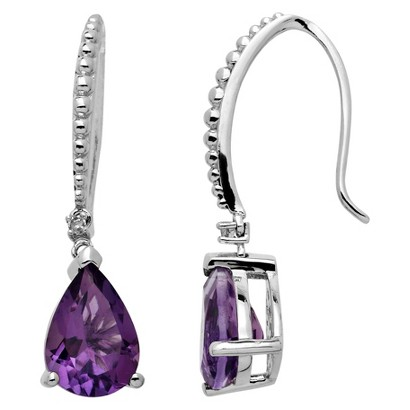 3.23 CT.T.W. Natural Amethyst Dangle Earrings in Sterling Silver with Accent Diamond