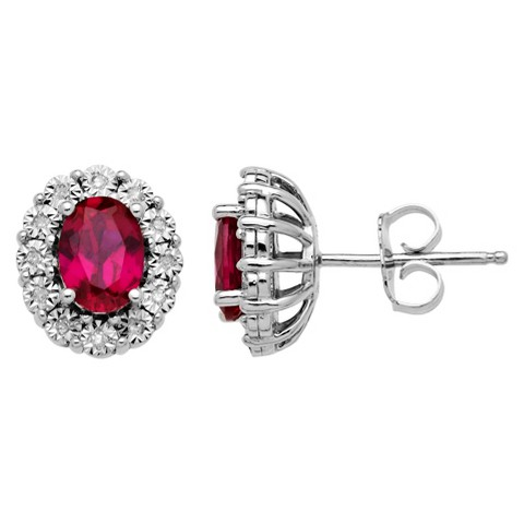 1.9 CT.T.W. Created Ruby Stud Earrings with Accent Diamonds in Sterling Silver