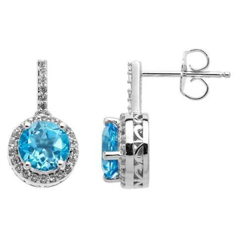 2.85 CT.T.W. Natural Blue Topaz Stud Drop Earrings with Accent 0.37 CT.T.W Diamonds in Sterling Silver