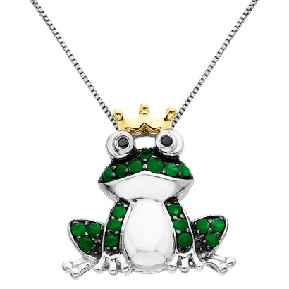 0.28 CT.T.W. Created Emerald Frog Pendant Necklace in Sterling Silver with 0.27 CT.T.W Diamond Accents