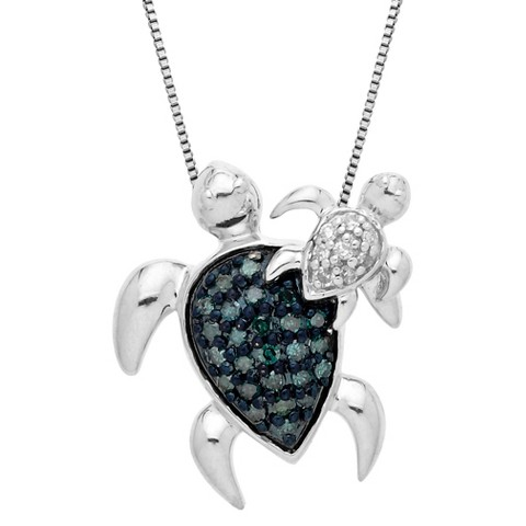 0.18 CT.T.W. Blue Diamond Sea Turtles Pendant Necklace in Sterling Silver with White Diamond Accents