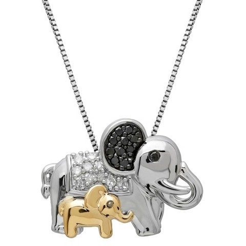 0.150 CT.T.W. Diamond Accent Elephants Sterling Silver Pendant Necklace