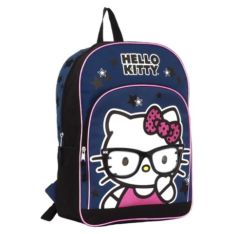 Hello Kitty Navy Backpack With Heat Seal Glasses Applique